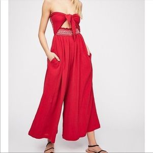 Free People CARMEN convertible Red Jumpsuit
